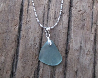 California Light BLUE Sea Glass Necklace = Beach Glass Silver Chain Necklace