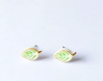 Little Green Leaves - Glaze Earrings - Ceramic earrings - Post earrings - Stud earrings - Leaf earrings - Porcelain - Green Leaf
