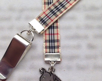 Horse Bookmark / Equestrian Bookmark / Horse Lover - Attach to book cover then mark the page with the ribbon. Never lose your bookmark!