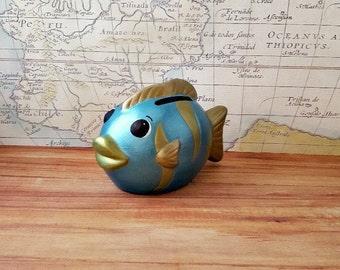Teal Fish Piggy Bank, Turquoise Fish Piggy Bank, Fish Piggy Bank, Piggy Bank, Bank, Baby Bank, Baby Piggy Bank, Nautical Nursery Decor, Fish
