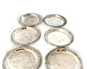 Italian Silver Plated Coasters |  Set of Six Coasters Made in Italy |  Vintage Barware   Teen