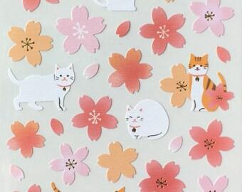 Sakura sticker,cat sticker,cherry blossom sticker,pink flower sticker,craft supply, scrapbook supply,diary stickers
