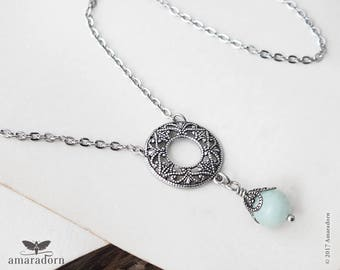 Amazonite Lavalier Necklace, Mint Green and Silver Filigree Necklace, Vintage Style Neck Chain, Gemstone Jewelry, Feminine Jewelry, Handmade