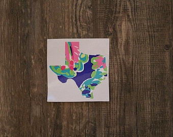 ANY STATE lily pulitzer printed vinyl decal // yeti ramblr, colster, lowball, texas, sticker, sorority