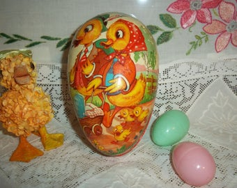 Vintage West Germany Paper Mache Easter Egg 1950's Mr & Mrs Duck w Family Very Collectible Paper Mache Easter Eggs for All Ages