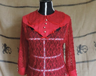 "Red lace blouse ""Ella"""