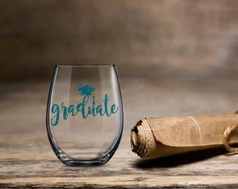 Graduate Wine Glass, Grad Wine Gift, Graduation Glass 2019, Stemless Wine Glass, College is Over, Gift for Graduate, High School College