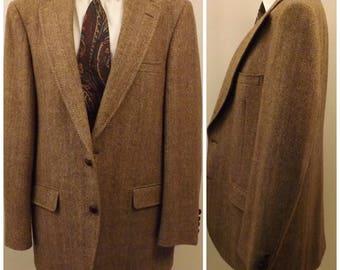 Rare 70s Manx English Tweed Mens Brown Sport Coat Blazer Size 42R