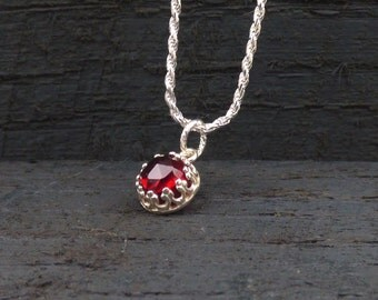 Garnet Necklace, Natural Stone Pendant, January Birthstone Jewelry, Sterling Silver Red Gem Stone, Everyday Necklace
