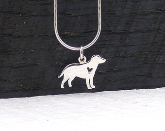 Silver Dog Necklace, I Love Dogs Gift, Sterling Silver Dog Charm Pendant, Animal Lover Jewelry