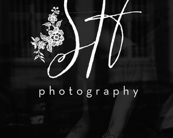 SALE Signature Initials Logo, Photography Logo Premade Branding with Flowers Bouqet, Script Logo Design, Branding Kit Available - SHA3