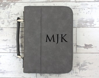 Bible Cover Grey Leather Bible Cover Personalized Bible Cover - Monogrammed Bible Case - Christmas Gift - Confirmation Gift