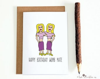 Cute Birthday Card ∙ Twins Birthday Card ∙ Her Birthday ∙ Card for Her ∙ Twins Card ∙ Greetings Card ∙ Happy Birthday Womb Mate