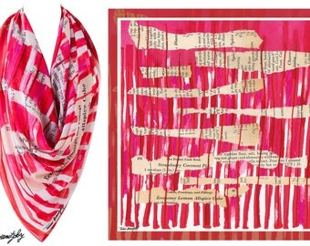 Summer art scarf, Elegant scarf, Printed scarf, Statement accessory, Big square scarf, Chiffon, pink red scarf, Text scarf, Gift for her
