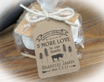 Woodland S'More Love Favor Kits-Tags ONLY or DIY Kits (bags/tags/twine) | Moose Baby Shower Favor | Lumberjack favor kits