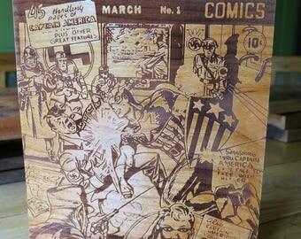 Captain America #1, Cherry Wood etching/Fan art.