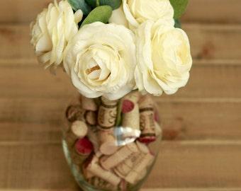 Silk Ivory Ranunculus Wine Corks and Eucalyptus Wedding Centerpieces