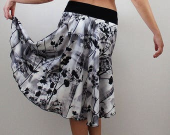 Satin wrap skirt for tango dance party