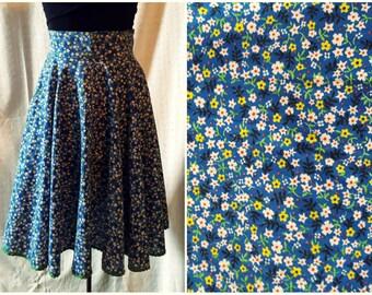 Vintage Blue Calico Circle Skirt, High Waist, Midi Skirt, Rick Rack Trim, '60s '70s, Small