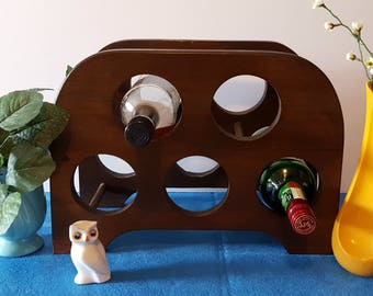 Vintage Wood Wine Rack, Tabletop Wine Bottle Holder, Home Bar