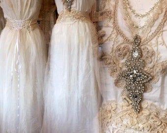 Flapper wedding dress,Unique wedding dress , antique empire inspiration , Victorian wonder wedding , handmade ,unique and lovely , handmade