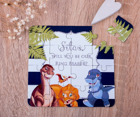 Flower Girl Gift  Will You Be My Flower Girl Dinosaur Invitation Puzzle Will You Be My Ring Bearer ANY TITLE Puzzle