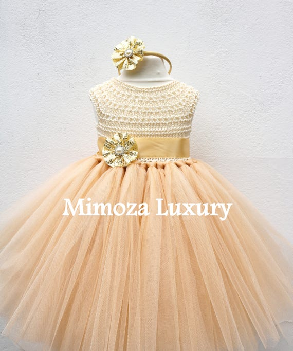 Gold Deluxe Tutu dress, gold birthday dress, gold flower girl dress, golden princess dress, gold tulle dress, gold luxury girls dress