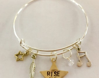 "Hamilton Inspired Hand-Stamped Star Bangle Bracelet - ""Rise Up"""