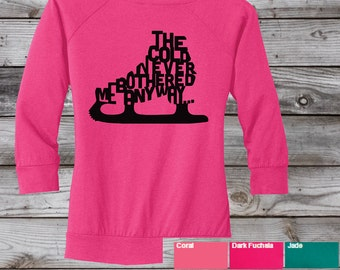 Frozen Figure - Juniors Textured Wide Neck Long Sleeve Raglan Frozen Move Elsa Anna The Cold Never Bothered Me Anyway,