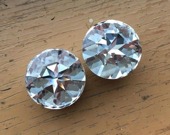 """1"""" 7/8"""" 25mm 22mm 1 Pair Plugs Made With SWAROVSKI ELEMENTS 316L Single or Double Flare Tunnels Crystal Gauges Wedding Bridal"""