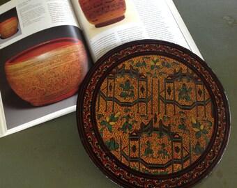 Burmese colorful lacquer  Platter