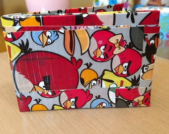 ANGRY BIRDS gaming trendy bifold duct tape WALLET billfold bird geek nerdy computer app gamer handcrafted two-pocket quality construction