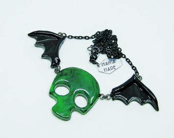 Winged Green and Black Marbled Skull Necklace