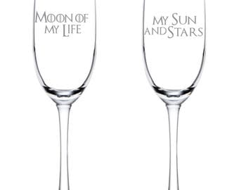 Game of Thrones Flutes - Moon of My Life - My Sun and Stars - Glassware - Toasting Flutes -  - Glasses - Wedding