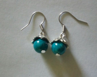 Dangle earrings made of Tibetan Silver and your choice of bead