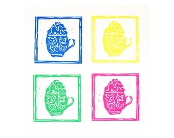 cat print - spring wall decor - cat art - hand pulled linocut print - coffee art - lino print