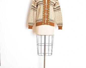 vintage 70s sweater, 70s cardigan, nordic sweater, wool sweater, cream brown, ski sweater, 70s jumper, nordic cardigan, pewter hooks, M