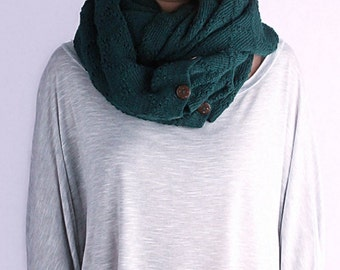 Infinity knit scarf, Button Scarf, loop Scarf, knit cowl, oversized scarf, knit scarf, winter scarf, green women scarf, SculpturedDiamond