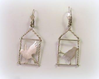 Bird earrings, Silver bird, Free bird