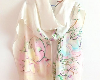Batik orchids Handpainted scarf Painted silk shawl Flower scarves mother day gift Bridesmaids gift scarf Wedding gifts Birthday gift for her