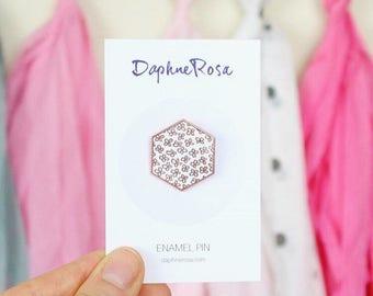 Rose gold floral enamel pin - lapel pin / enamel pin / floral brooch / geometric badge / hexagonal pin