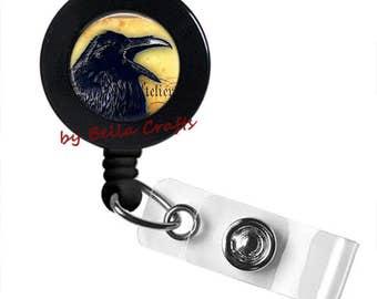 Raven, Badge Reel, Halloween, Gothic, Crow, Bird, ID Holder,State Worker,Teacher, Nurse, Doctor, Geeky, Accessory, Retractable, Belt Clip