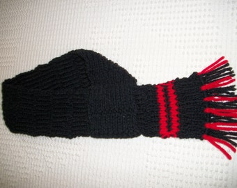 Black/ Red hand knitted scarf for X-large breed dog