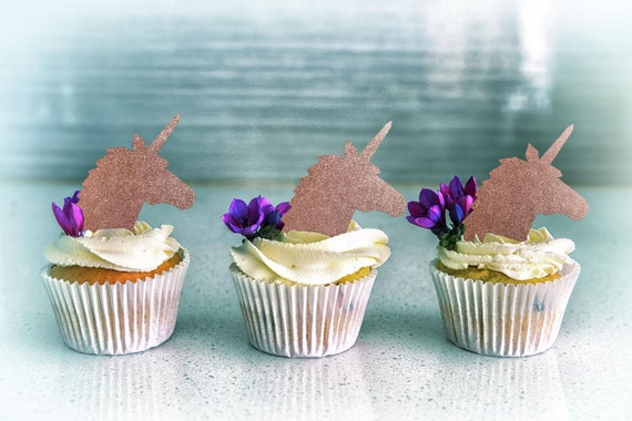 Unicorn Cupcakes, Little Girl Cupcakes, Magical Birthday, Pink and Gold Party, Unicorn Birthday, Unicorn Party, Rose Gold Cupcake Toppers