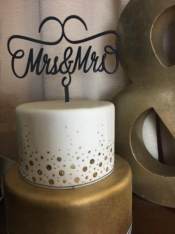 Mrs and Mrs Cake Topper, Wedding Cake Topper, Engagement Cake Topper, Anniversary Cake Topper, Glitter Cake Topper, Mrs & Mrs