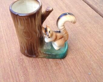 Bone China Toothpick Holder Squirrel/Stump