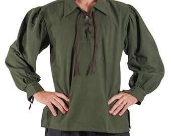 MERCHANT SHIRT GREEN - Steampunk, Renaissance Costume, Pirate Shirt, Steampunk Tunic, Medieval Clothing, Sca Tunic, Sca Garb, Zootzu