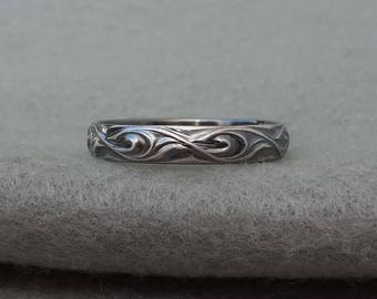 Sterling silver wedding ring  simple paisley band  his and her bands  mans  ringHippie ring   Etsy. Hippie Wedding Rings. Home Design Ideas