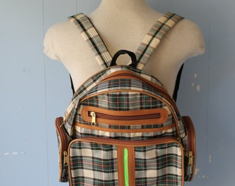 Vintage 90s Vinyl Plaid Backpack/Vegan/Neon Green/Street Style/