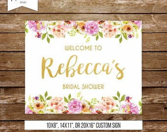 Bridal shower welcome sign bachelorette party sign floral welcome sign printable baby shower sign hens party sign printable welcome sign 237